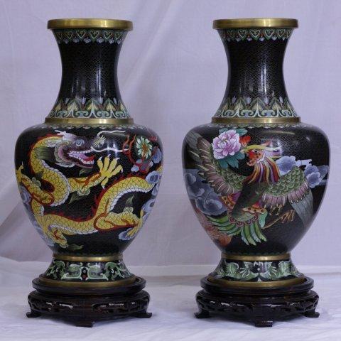 中国七宝 「龍鳳凰文花瓶 一対 花台付」