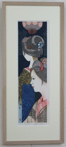 舞妓〜文月 燈籠/関野準一郎 (木版画)