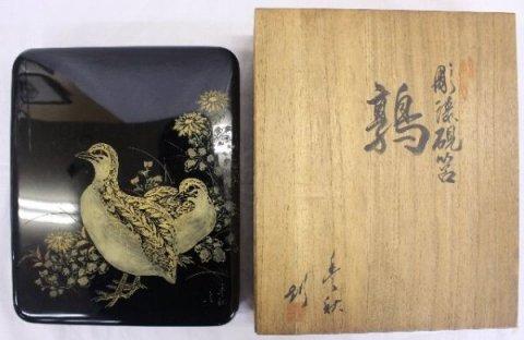 彫漆硯筥 鶉 共箱 /稲垣豊秋 (村上堆朱・新潟県伝統工芸品)