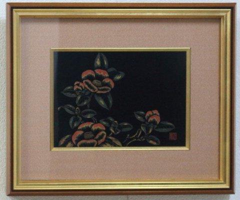 額「椿」/紫正(村上堆朱・新潟県伝統工芸品)