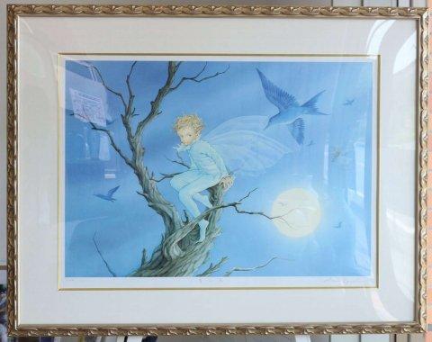青い鳥 /江口あさ子 (リトグラフ版画)