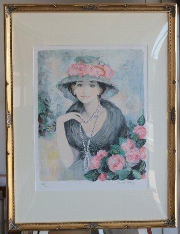黒い襟の若い娘 /ベルナール・シャロワ (リトグラフ版画)