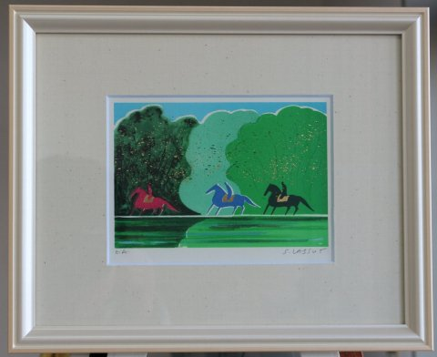 湖畔の乗馬/セルジュ・ラシス (リトグラフ版画)