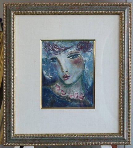 ブルーの中の顔 /クレール・アステックス(モノタイプ版画)