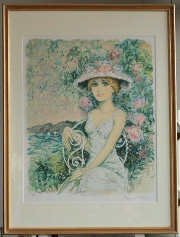 椅子に座る帽子の女性/ベルナール・シャロワ (リトグラフ版画)
