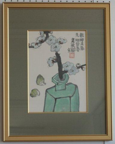 白梅之図 /粛粲宝 (日本画・4号色紙)