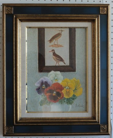 壁の鳥 F4/中山爾郎 (油彩)