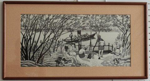矢切の渡し(豆明月)/奥山儀八郎 (木版画)