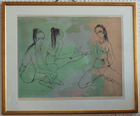 休息する三人のバレリーナ/ジャン・ジャンセン (リトグラフ版画)