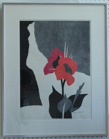 FLOWER AND A GIRL (8) /斎藤清 (木版画・雲母刷)