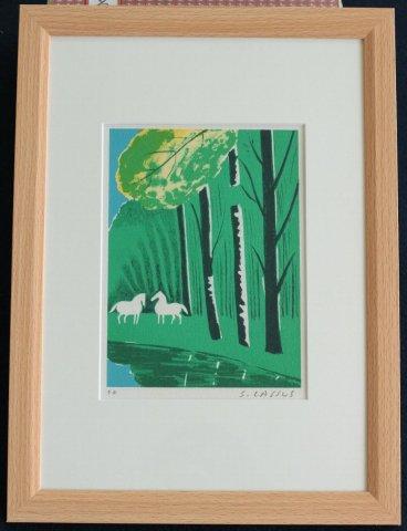 森の馬/セルジュ・ラシス (リトグラフ版画)