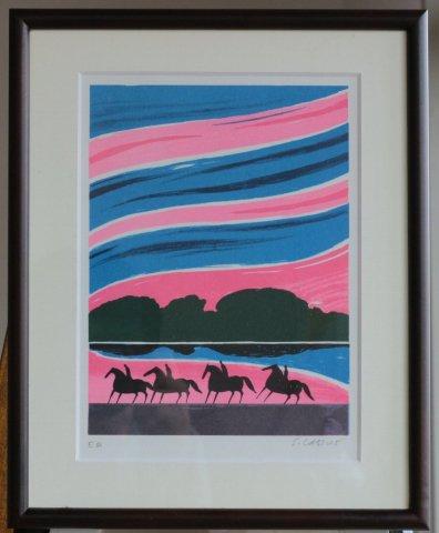 朝焼けの四頭の馬/セルジュ・ラシス (リトグラフ版画)