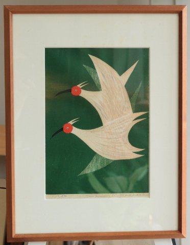 朱鷺 (緑)/高橋信一(木版画)