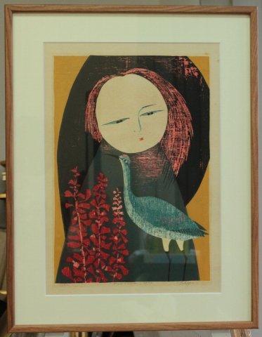 サルビアの少女/高木志朗 (木版画)