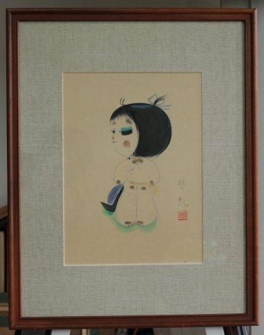 おカッパの少女/島倉哲郎(水彩)