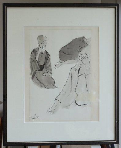 墨で描かれた挿し絵〜悲しむ女性/竹谷富士雄 (墨彩)