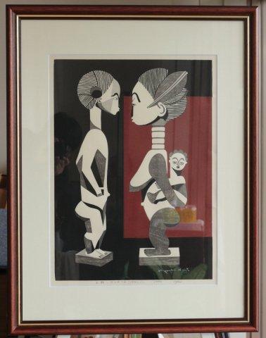 木彫・サンタフェ(1956)(1)1990 /斎藤清 (木版画)