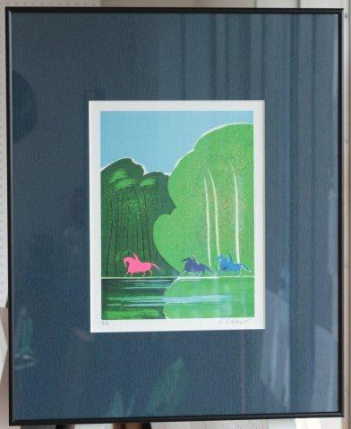 湖畔の三頭の馬/セルジュ・ラシス (リトグラフ版画)