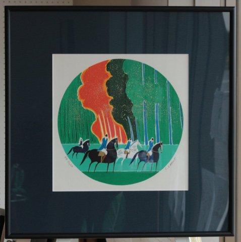 深秋の四頭の馬/セルジュ・ラシス (リトグラフ版画)