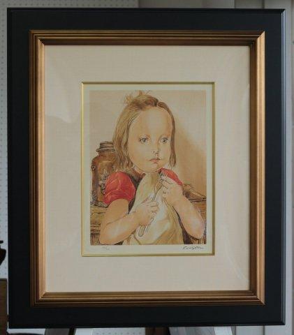 フォークを持つ少女/レオナールフジタ (シルクスクリーン版画)