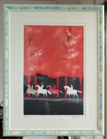 秋の4頭の馬/セルジュ・ラシス(リトグラフ版画)