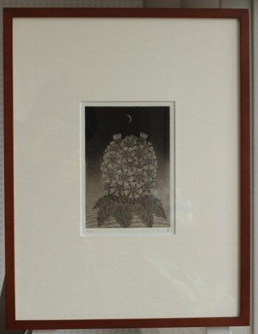 銅版画集《夢草花図》から作品番号3/松崎滋 (銅版画)