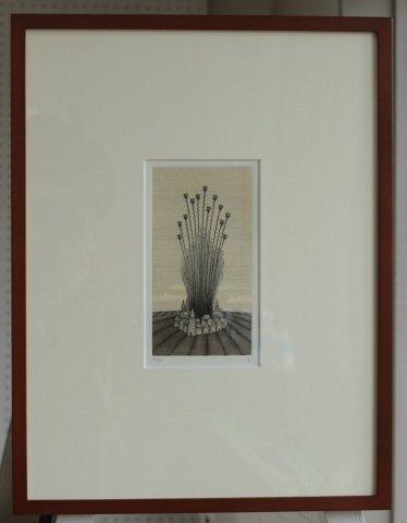銅版画集《夢草花図》から作品番号7/松崎滋 (銅版画)
