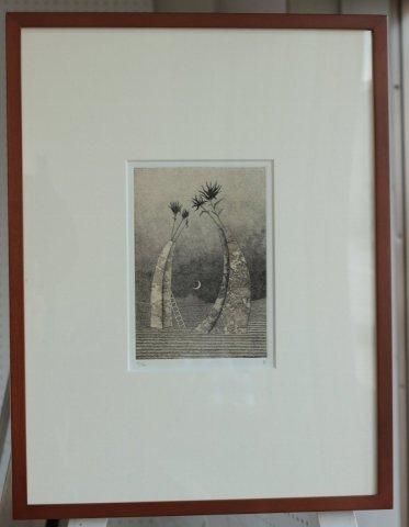 銅版画集《夢草花図》から作品番号13/松崎滋 (銅版画)