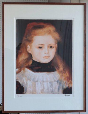 白いエプロンの少女/オーギュスト・ルノワール (リトグラフ版画)