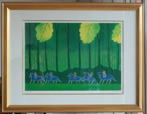 ブローニュの森の夏〜夕暮れの乗馬/セルジュ・ラシス(リトグラフ版画)