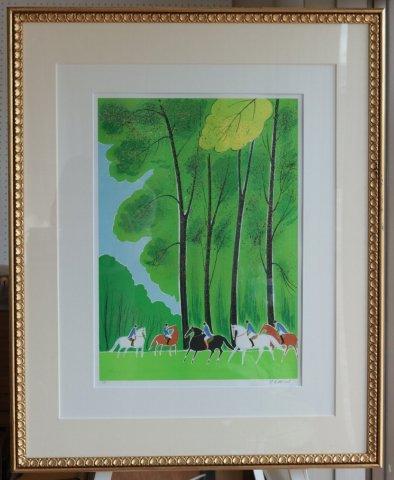 ブローニュの森の乗馬〜新緑のパリ/セルジュ・ラシス(リトグラフ版画)