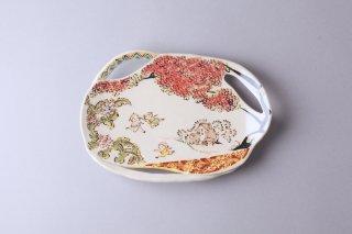 【斎藤知】絵皿(穴あき)(楕円)