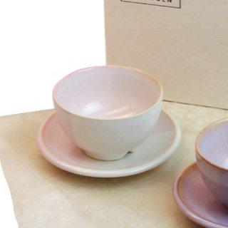 山口・萩焼 まめ碗皿ペアセット/ Shikisai 木箱入り
