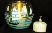 ガラス工芸/キャンドル LEDキャンドル (風センサ-付)+手作り ガラスホルダー・シリーズ ヨット