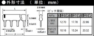 集合抵抗アレー コモン型6素子7ピン(抵抗値E12系列:10KΩ〜100KΩ・±5%)