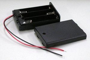 電池ボックス 単4×3 リード線ふた付き スイッチ付き