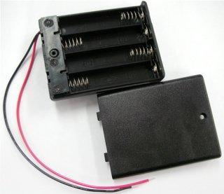 電池ボックス 単4×4 リード線ふた付き スイッチ付き