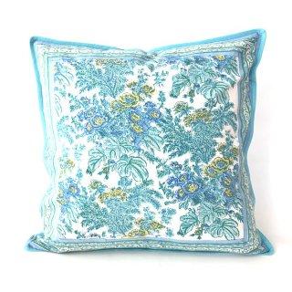 ANOKHI クッションカバー ライトブルー花柄 45cm x 45cm