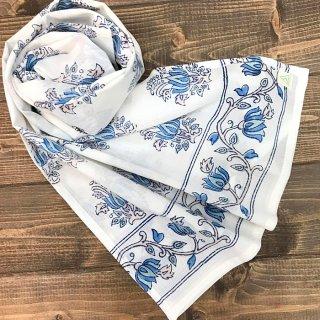 Soma オーガニックコットンストール 白×ブルー 40cm x 150cm