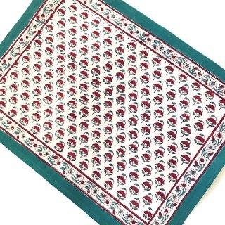ANOKHI ランチョンマット 白×グリーン