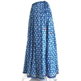 Aavaran インディゴマキシ丈超フレアスカート なると柄