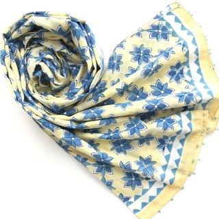 (期間限定15%引き) Soma コットンストール イエロー×ブルー花柄 50cm x 220cm