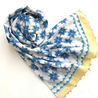 (期間限定15%引き) Soma コットンストール 白×ブルー花柄 50cm x 220cm