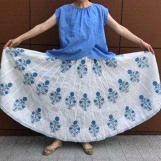 ブロックプリントムガール花柄スカート マキシ丈