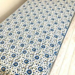 (期間限定30%引き) シングルベッドカバー コットン 白×ブルー花柄