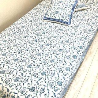 シングルベッドカバー コットン 白×ブルー花柄