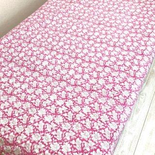 シングルベッドカバー コットン ピンク花柄