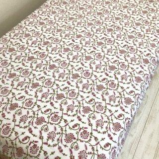 シングルベッドカバー コットン グリーン×ピンク花柄