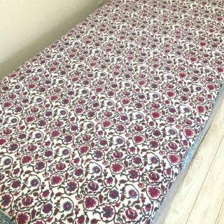 (期間限定30%引き) シングルベッドカバー コットン ブルー×ピンク花柄
