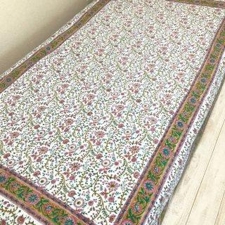 シングルベッドカバー コットン 白×ピンク花柄